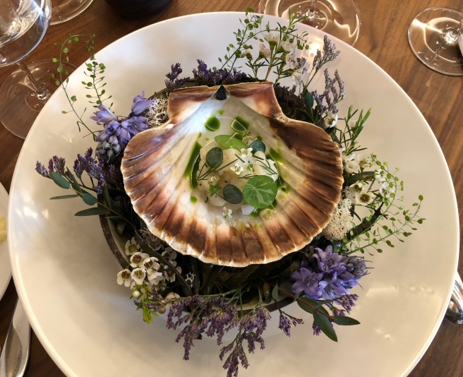 Isle of Mull scallop tartar with sea vegetable consommé