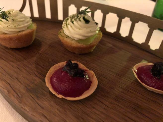 tart of beet cream and blackberry