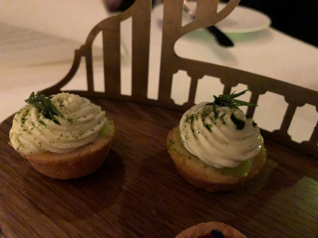 corn muffin with cheese, dill, dill oil and cucumber