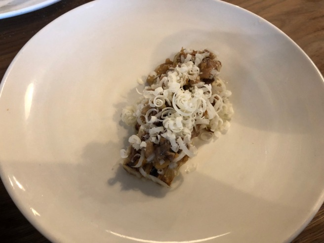 White asparagus, walnuts and spenwood