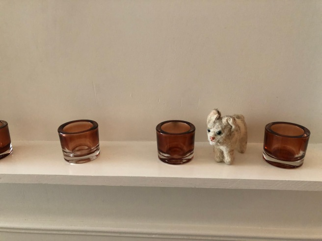 Frankie posed with the candle holders