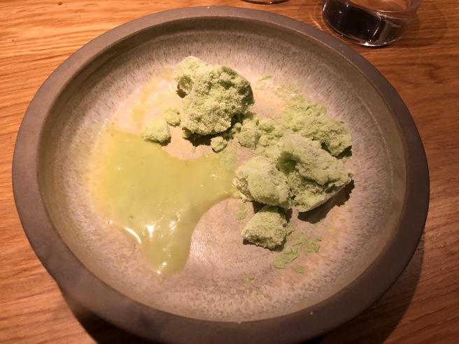 Frozen soufflé. avocado. jalapeño. spruce