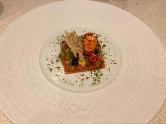 Carabiniero prawn with tomato, coriander, thai salsa