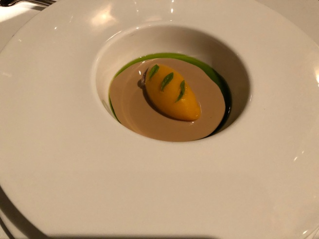 Nespola with white chocolate, lemon-verveine and balsamic