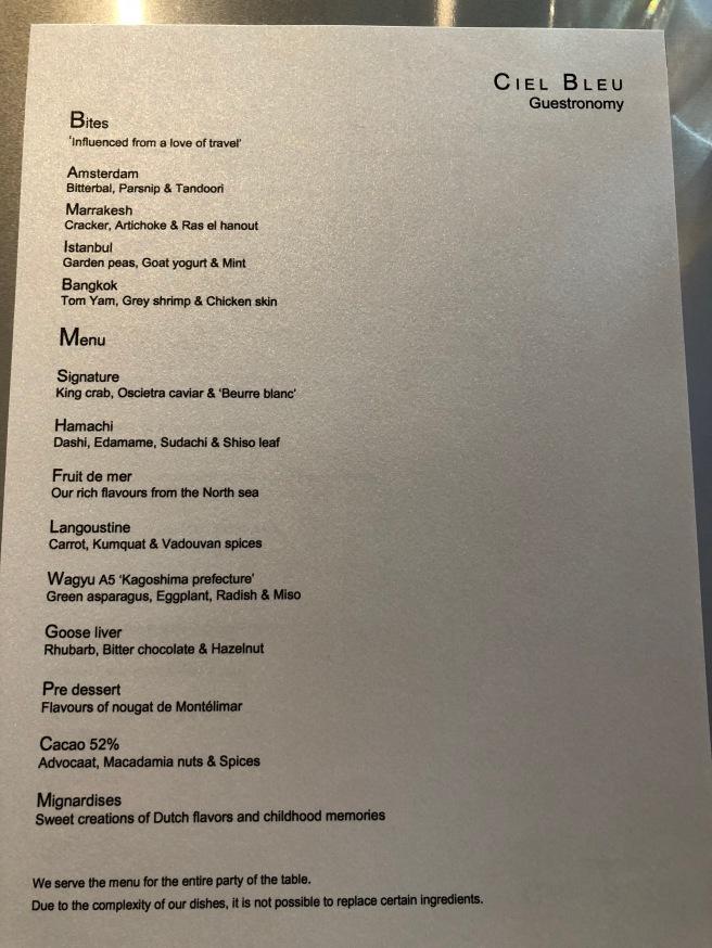 Ciel Bleu guestronomy menu