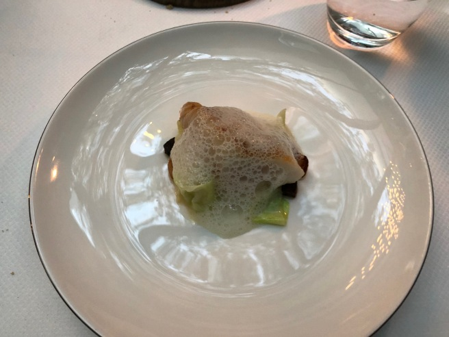 John Dory, pointed cabbage, fresh almonds, girolles, black pudding, smoked mackerel sauce