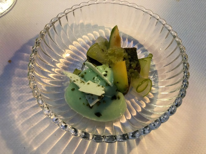 Avocado, green apple, pistachio, celery