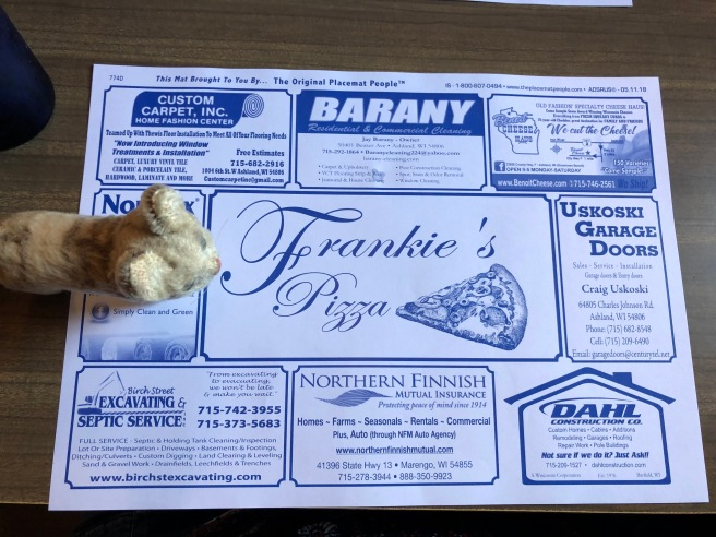Frankie found the restaurant on the placemat