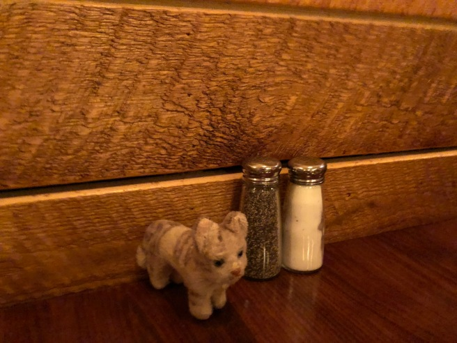 Frankie pointed out the salt and pepper shakers