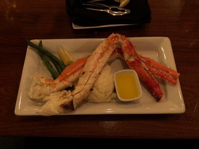 KIng crab legs, mashed potatoes and asparagus