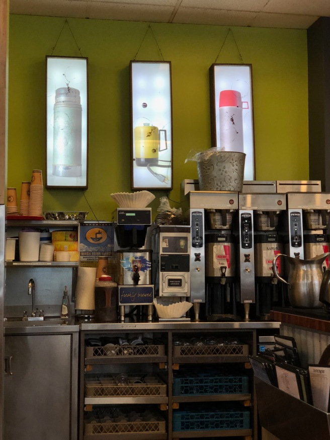 coffee station with old coffee stuff pictures