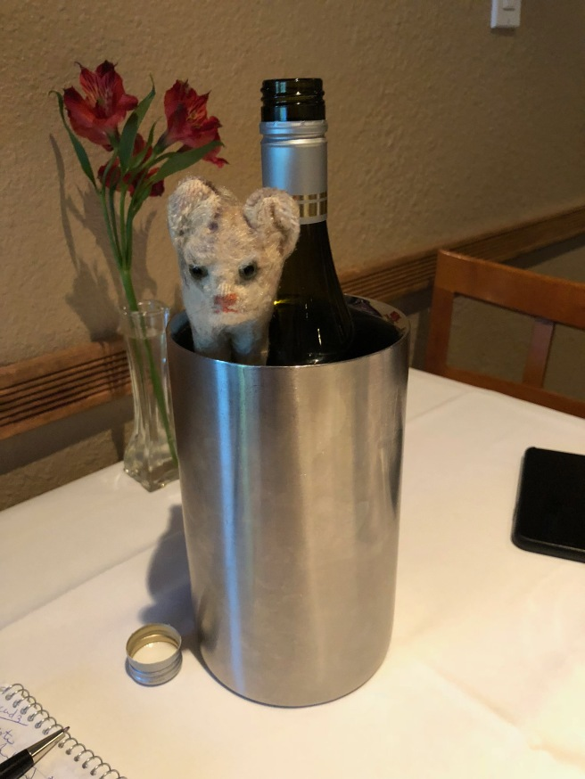 Frankie chilled with the wine
