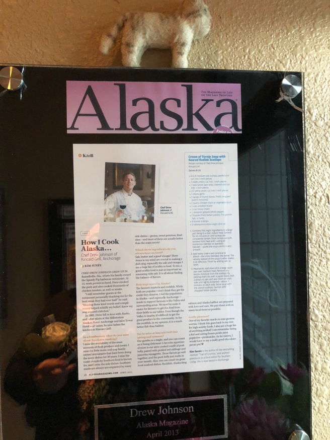Frankie and an article about the chef
