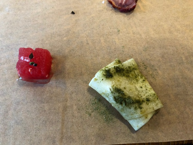 Watermelon, peppermint / Diakon, fermented garlic chive
