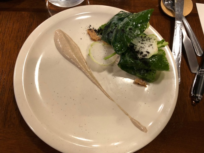 Brassicas, smoked shitake, farm cheese, narazuke daikon, salted pecan, double mint