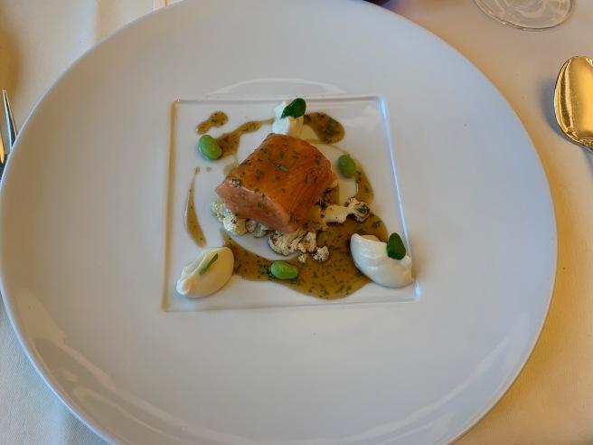 Scottish Salmon/ Cauliflower/ Soy-Coriander Sauce