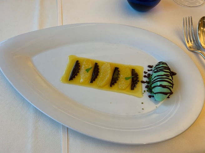 Chocolate Ravioli/ Orange Sauce/ Mint Ice Cream