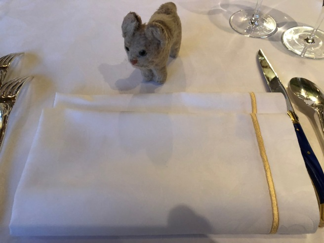 Frankie checked out the well starched napkin