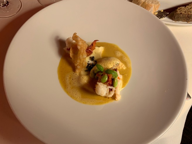 Roasted Lobster, Lobster tartar. Broad Beans, Parsnip Puree, Curry