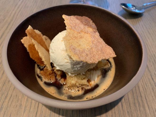 Affogato with toasted ice cream, mascarpone cream, crispy cinnamon tuile and a single shot of la colombe espresso