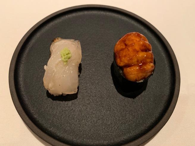 Madai aged with fresh wasabi and truffle honey / Main Sea Urchin, yuzu kosho, magago arare and smoked soy