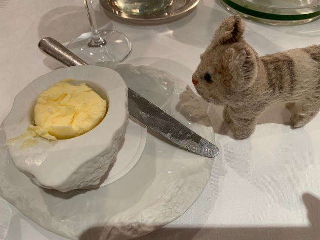 Frankie checked out the butter