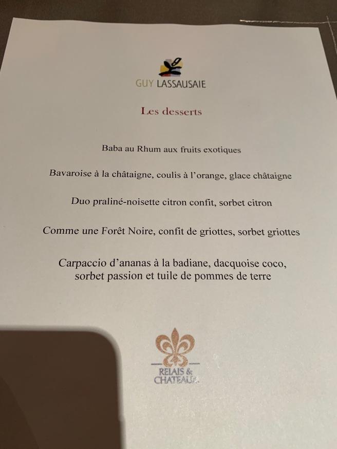 dessert menu (FRench)