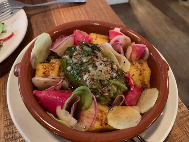 Lillian's Stuffed Cabbage, porcini bolognese, crispy polenta, brown butter