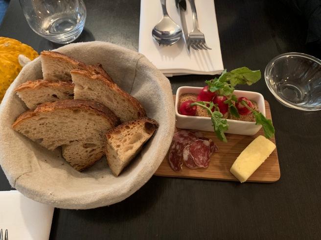 bread, salami, radish