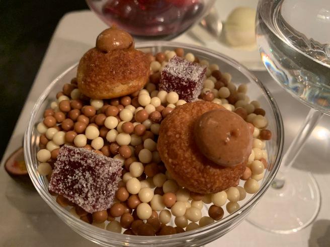 praline pastry and raspberry jelly