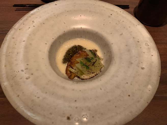 Monterey Bay Abalone, Celtuce cream, Passmore Ranch caviar and Wild Seaweed