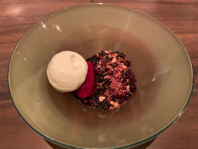 Beetroot Sorbet, pomegranate, malted black rice and olive oil marshmallow