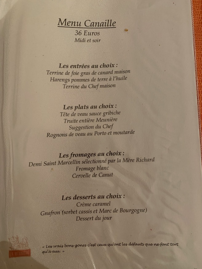 menu 6 French