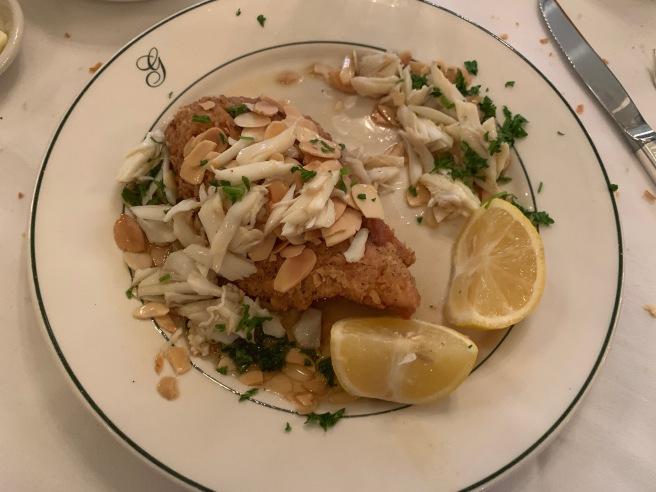 trout amandine with crab garnish