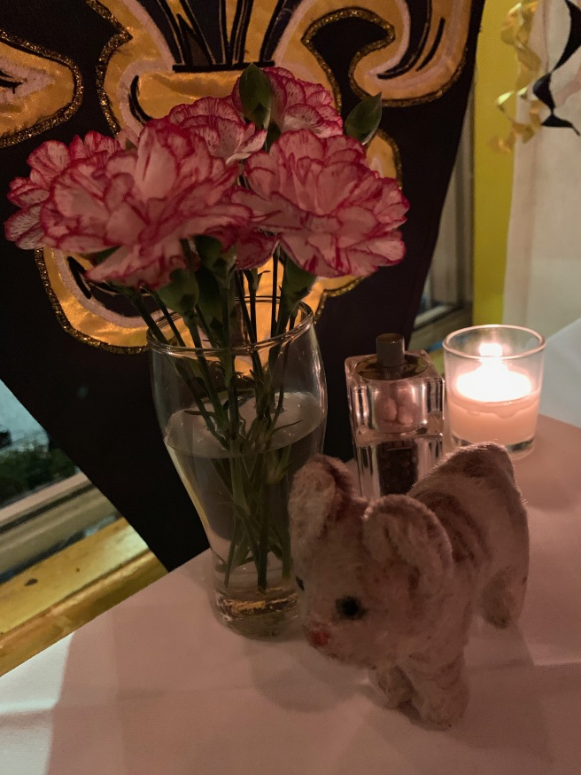 Frankie with the table flowers