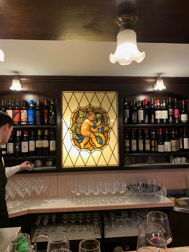 stained glass in bar