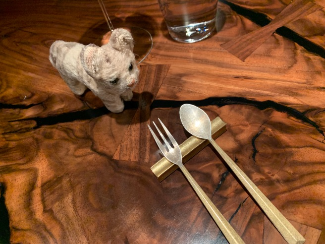 Frankie is fascinated with flatware rests