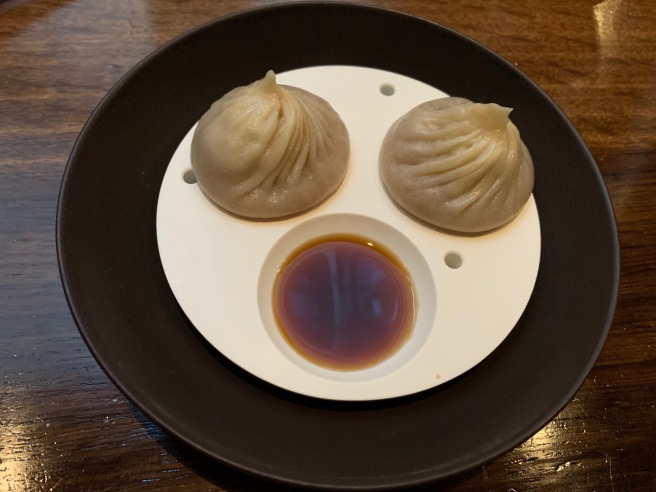 lobster coral xiao long bao, homemade soy sauce and vinegar